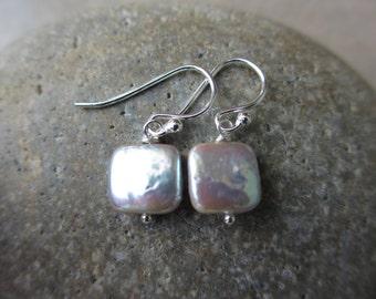 Small Gray Pearl Sterling Silver Earrings, Square, Pearl Earrings, Modern, Minimalist, Irisjewelrydesign