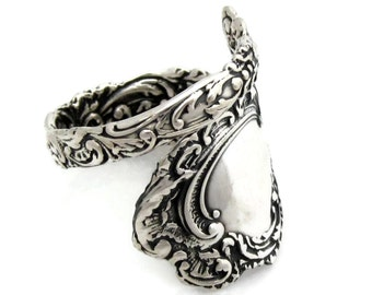 Louvre Spoon Ring Sizes 6 - 10 Sterling Silver Rococo 1893