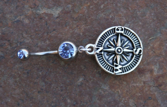 compass designer belly button ring simple blingy journey