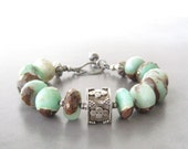 chrysoprase and sterling silver bracelet, green stone bracelet, rustic chunky stone bracelet