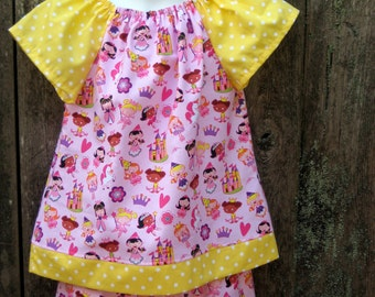 Pink Princess Ruffle Pants and Peasant top outfit, Size 4, Ready to ship