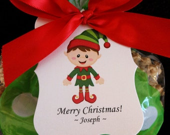 Personalized Christmas Gift Tags, boy elf, set of 24