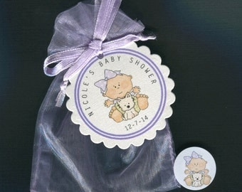 Personalized Baby Girl Baby Shower Favor Candy Bags, Baby Girl With Puppy, Includes Tags Candy Stickers, Purple Organza Bags, Set Of 20