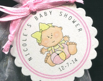 Baby Shower Favor Tags, baby girl with ball, set of 50