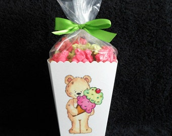 Personalized Birthday Party Popcorn Boxes, Birthday Party favors, teddy with ice cream cone, includes bags and ribbons