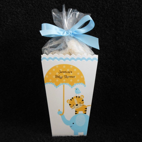 personalized baby shower popcorn box favor boxes jungle animals and