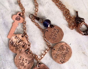 copper Charm Necklace Hand Hammered copper jewelry Custom made for you