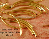 25 Gold Curved Tube Beads 20x1mm Gold Plated Brass - 25 Pc - F4092LK-G25
