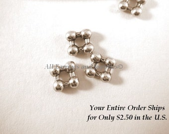 20 Antique Silver Spacer Square Daisy Beads, LF/CF 5mm - 20 pc - 6298-9