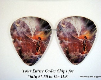 2 Indian Wedding Guitar Pick Single Sided - Native American - 2 pc - 6096 - Buy 5 designs, get 1 Free