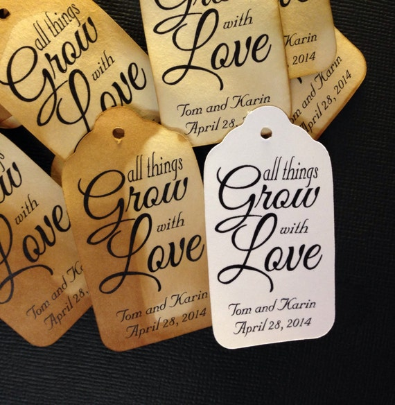 All Things Grow With Love 100 MEDIUM  Personalized Favor Tags