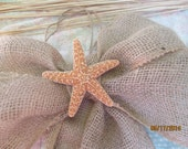 "Wedding Bow  Beach Bow  Starfish  Rustic Burlap 4 Loop Bow   Wide Burlap Bow  12"" Bow  Pew Marker"