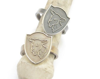 Small Old Goat Merit Badge Ring in Sterling Silver or Bronze