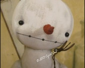 Whimsical Christmas Winter Snowman On up-cycled candy Jar Primitive Country decor HaFair