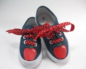 Apple Shoes, Girls Hand Painted Denim Sneakers, Back to School for Baby and Toddler