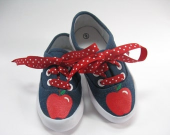 Apple Shoes, Fall or Autumn Red Apple Outfit, Hand Painted Denim Sneakers for Back to School, Baby and Toddler