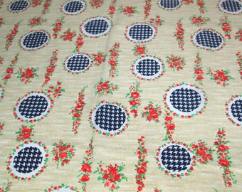 SALE vintage 70s crepe fabric, featuring unique houndstooth check and flower print, 1 yard