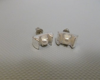 Vintage Monet Sterling Silver 925 Pierced Earrings With Faux Pearls