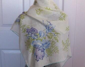 Blue Iris Silk Scarf . blue iris . iris scarf . silk scarf . iris silk scarf