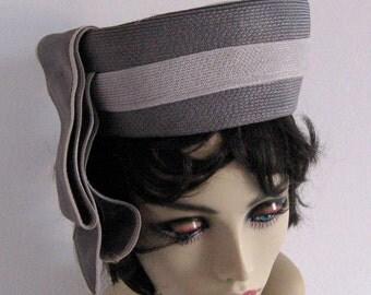 grey pillbox hat . straw pillbox hat . Grey Pill Box Hat by Howard Hodge Jr.