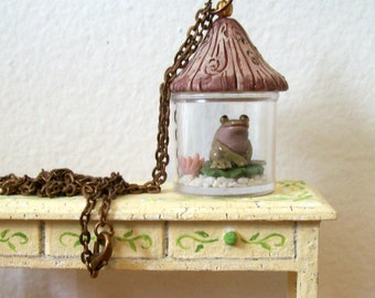 Fat Spotty Frog Miniature Habitat with Cottage Lid Miniature Hand Sculpted Statement Necklace One of a Kind Pendant