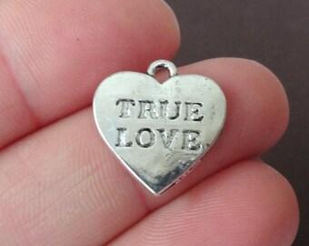 """10 """"TRUE LOVE"""" Heart Charms 16x16.5x1mm ITEM:Q2"""