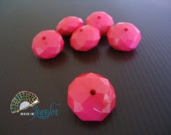 OPAQUE FUSCHIA PINK Rondelle Beads, Abacus, Big Acrylic Faceted Bubblegum Beads, Chunky Beads, 23mm - 6x