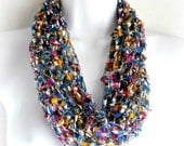 Infinity Scarf, Necklace, Scarf Infinity Scarf, Funnel-Neck Loop, Scarf, Light weight Scarf, Multicolored Cowl, Fiber Jewelry Single Loop