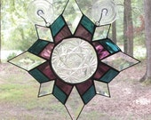 Stained & Clear Beveled Glass Cross Star Panel - Steel Blue and Grape Purple with Vintage Plate