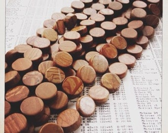 "wood jasper coin bead 15mm strand 15"" destash  sale"