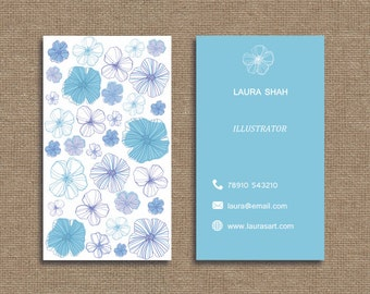 Printable stylish elegant water colour flower business card, calling card for your business
