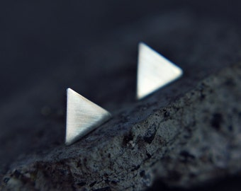 Sterling silver triangle earrings - triangle studs - minimalist earrings -  - modern jewelry - edgy simple posts - geometric studs
