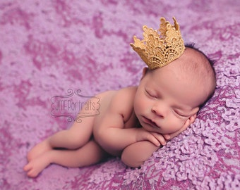 Vintage Inspired Shimmery Gold Crown - Venetian - Baby Infant Newborn - Photo Prop - Boy or Girl