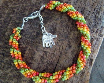Hand Stitched Spiral Rope Beaded Bracelet in Tropical CITRUS Colors                     1.99 Shipping USA