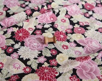 3879 - Japanese Kimono Peony Chrysanthemum Floral Chirimen Crepe Fabric - 43 Inch (Width) x 1/2 Yard (Length)