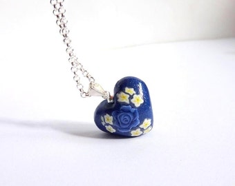 Blue Heart pendant, Navy Blue Miniature Heart Necklace, Floral blue Rose Heart pendant