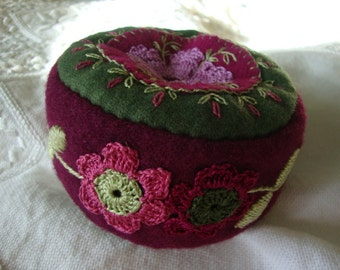 Blackberry and Orchid pincushion