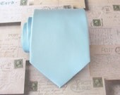 Mens Tie. Light Celestial Blue Pastel Blue Necktie Pale Light Blue Powder Blue Mens Tie With Matching Pocket Square Option