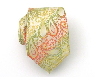 Mens Tie Green Coral and Yellow Paisley Mens Tie
