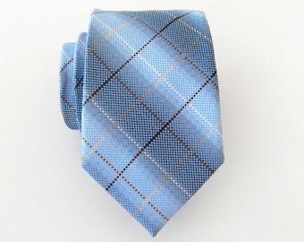 Mens Ties Necktie Blue Brown Plaid Mens Tie