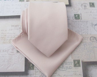 Mens Tie Nude Pink Pale Oatmeal Blush Necktie. Wedding Ties. Groomsmens Ties