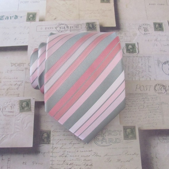 Mens Tie Silver Gray Pastel Pink Blush Stripes Necktie