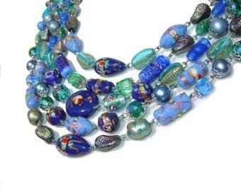 Vintage Lampwork Beaded Necklace Art Glass Blue & Aqua Beads Multi-Strand Choker