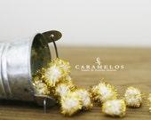 "20 pcs Gold and white Tinsel Pom Poms 1/2"" DIY"