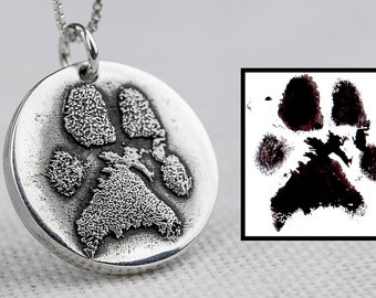 Dog Paw Print Necklace Jewelry Custom Personalized Sterling Silver
