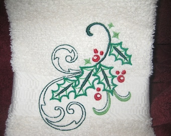Hand Towel with Christmas Holly Swirl
