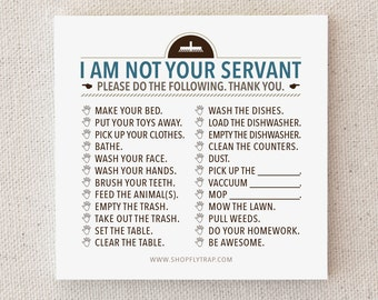 "Cheap, Funny Gag Gift. Man, Woman. To Do List. Funny. Novelty. Small. Cheap. Under 10. Cool. Stylish. ""Not Your Servant"" (NSN-C004)"
