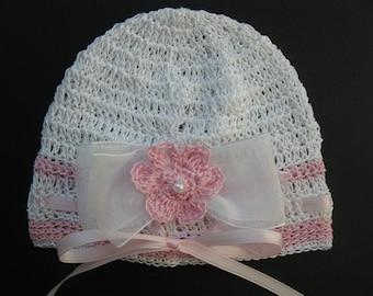 Crocheted Newborn Baby Girl Hat Infant Bonnet  with Bow Knit Baby Girl Cap Crochet Reborn Hat Baby Christening Crochet Doll Hat Baptism