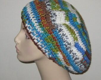 Crochet Beret Dread Tam Hat in Peruvian Print