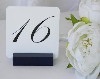 Table Number Holder, Navy Blue Wedding, Navy Blue Table Number Holders (Set of 10)